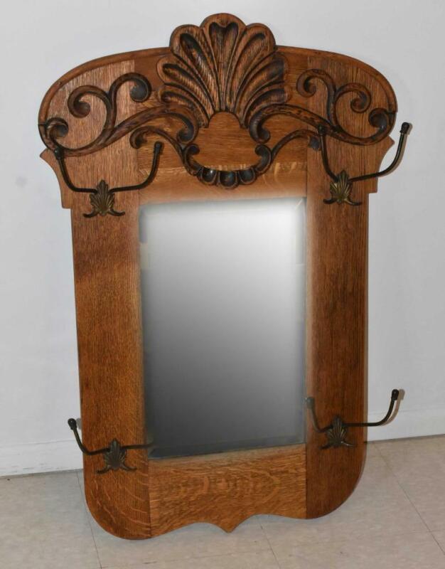 Victorian Oak Hall Mirror Coat Hooks Beveled Glass