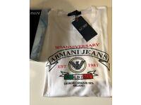 BRAND NEW - Mens Slim Fit White ARMANI JEANS T-SHIRT / Armani Logo Designer Shirt