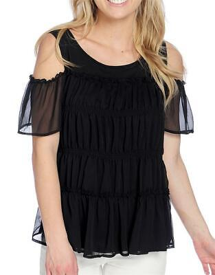 NEW  Kate & Mallory Knit & Woven Short Sleeve Cold Shoulder Pleated Front Top XL Pleated Knit Top