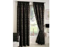 Curtina Crompton Black Lined Curtains - 46x90 Inches (117x229cm)