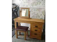 SOLD PENDING COLLECTION Oak Furniture Land Rustic Solid Oak Dressing Table Stool and Mirror Set