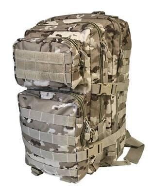 Mochila asalto 36 litros camuflaje arido pixelado militar ejército acampada caza