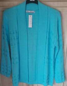 Ladies cardigan. Aqua Blue colour