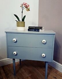 Retro Vintage Funky style bedside table cabinet chest of drawers painted in Farrow & Ball eggshell