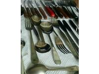 Large Mixed Cutlery - Joblot. Wooden handles, retro olive forks etc