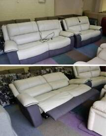 Grey and cream leather electric recline 3 and 2 seater sofas