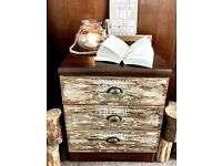 Rustic side table / drawers
