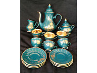 *RARE* Handmade 15 piece gold & green lustre coffee set (Azim Porselen)
