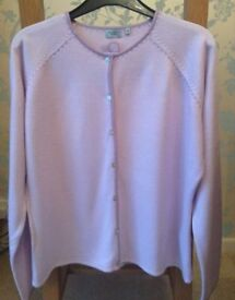 Women's Clothing Lilac Top, Cardigan with Contrast Stitch Detailing Size 16P BNWT
