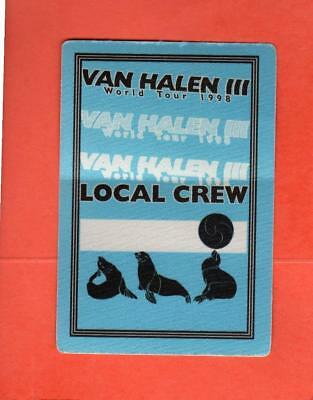 Van Halen III World Tour 1998 Local Crew Cloth Pass UNUSED! BLUE