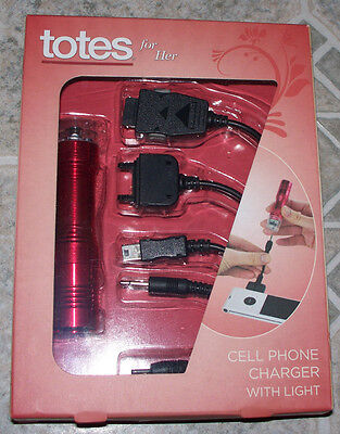 Totes For Her - Cell Phone Charger W/ Light - 4 Charger Attachments -