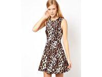 Karen Millen leopard skater dress size 10