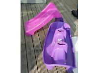 Pink toddler slide and see saw