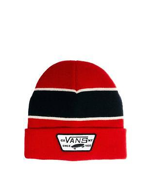 Vans Off The Wall Calpine Beanie Red Stripe Cuffed Hat Cap 100  Acrylic New Nwt