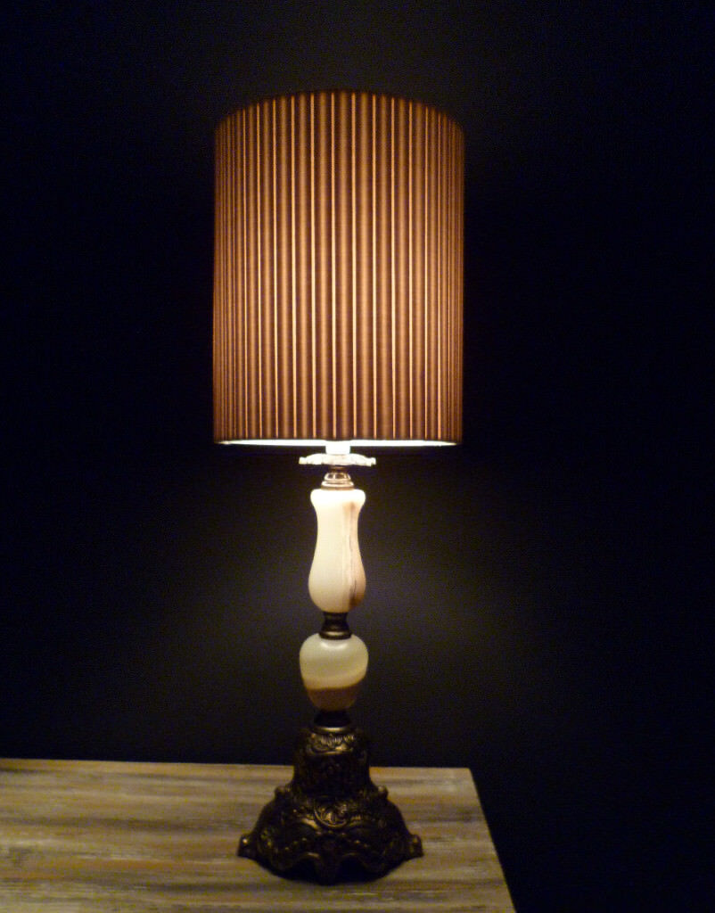 """Vintage Table Lamp: Onyx & Brass Made in Italy 24"""" tall"""