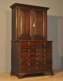 Attractive Antique Large Victorian Oak Bookcase Cabinet Over Chest Of Drawers