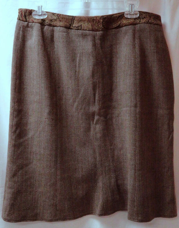 Ladies career Skirt 16 Lined Straight Brown Wine Tapestry Velvet Waistband