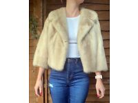 Excellent Condition Vintage Blonde Mink Cropped Fur Jacket Size Small