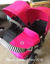Bugaboo Donkey v1.1 in hot pink with accessories