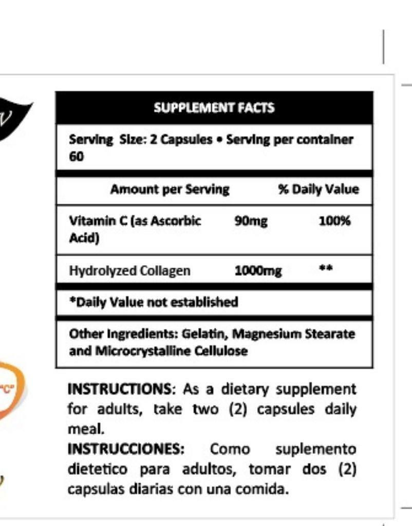 COLAGENO Collagen Hydrolysate with Vitamin C ANTIANGING Colageno 120 tabs 1000mg 2
