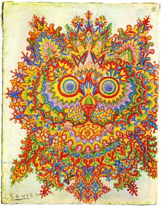 Louis Wain Psychedelic Cat Painting Albert Hoffman Real Canvas Art Print