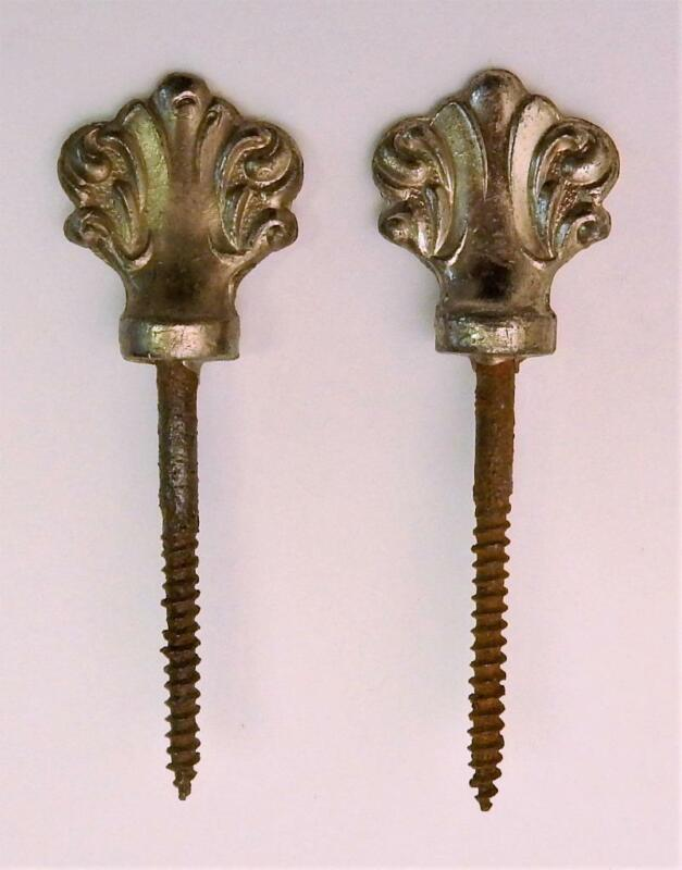 Pair of Antique Victorian Ornate Nickel Plated Picture Art Screw Hangers