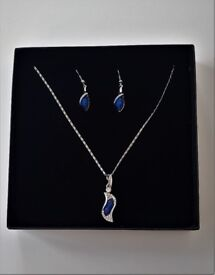 Silver Colour with blue stone Necklace and Earrings set