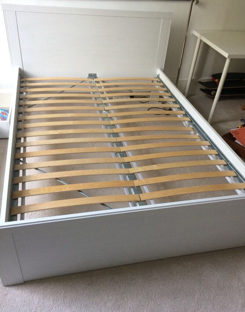 White ikea double bed with pull out drawers in hyndland for Double bed with drawers and mattress