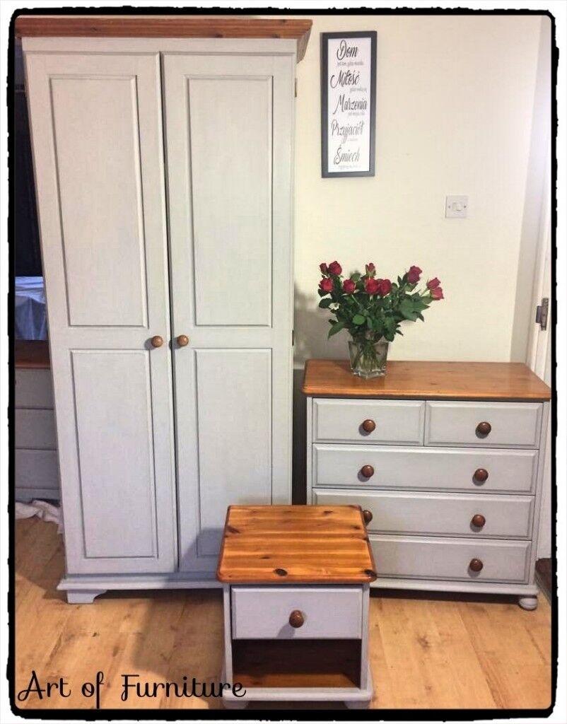Pine Bedroom Furniture Set Wardrobe Chest of Drawers ...