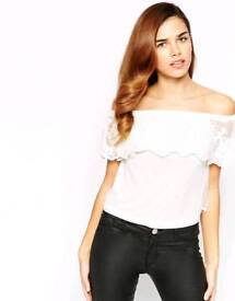 Lipsy off the shoulder Lace Top UK 8