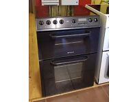 60cm Black Hotpoint CredaCeramic Top Cooker, Double Oven Fan Assisted/ Grill - 6 Months Warranty