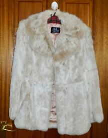 Ladies Coney Fur Jacket size 12 (28 long) in Beige