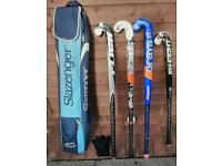 Hockey sticks x 4 with bag