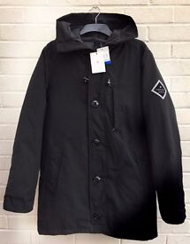 -NEW WITH TAGS- MENS HARDY AMIES BLACK 'HA PARKA' HOODED COAT JACKET SIZE LARGE L -300811-