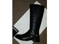 Brand New Black Leather Knee-Length Boots