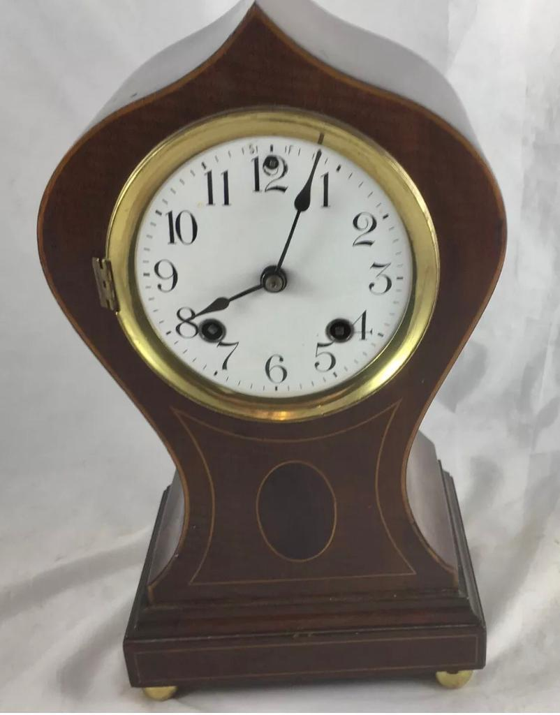 Mahogany Balloon Clock By Ansonia Clock Co New York USA
