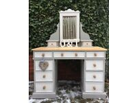 Solid pine large dressing table & mirror - farmhouse style