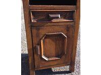 "Vintage Oak Cabinet Glass Top 26"" High Ex Cond"