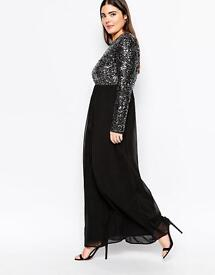 size 22 long sleeve sparkly sequin evening party dress