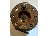Antique, Vintage, Old Wooden Centre Pin Fishing Reel