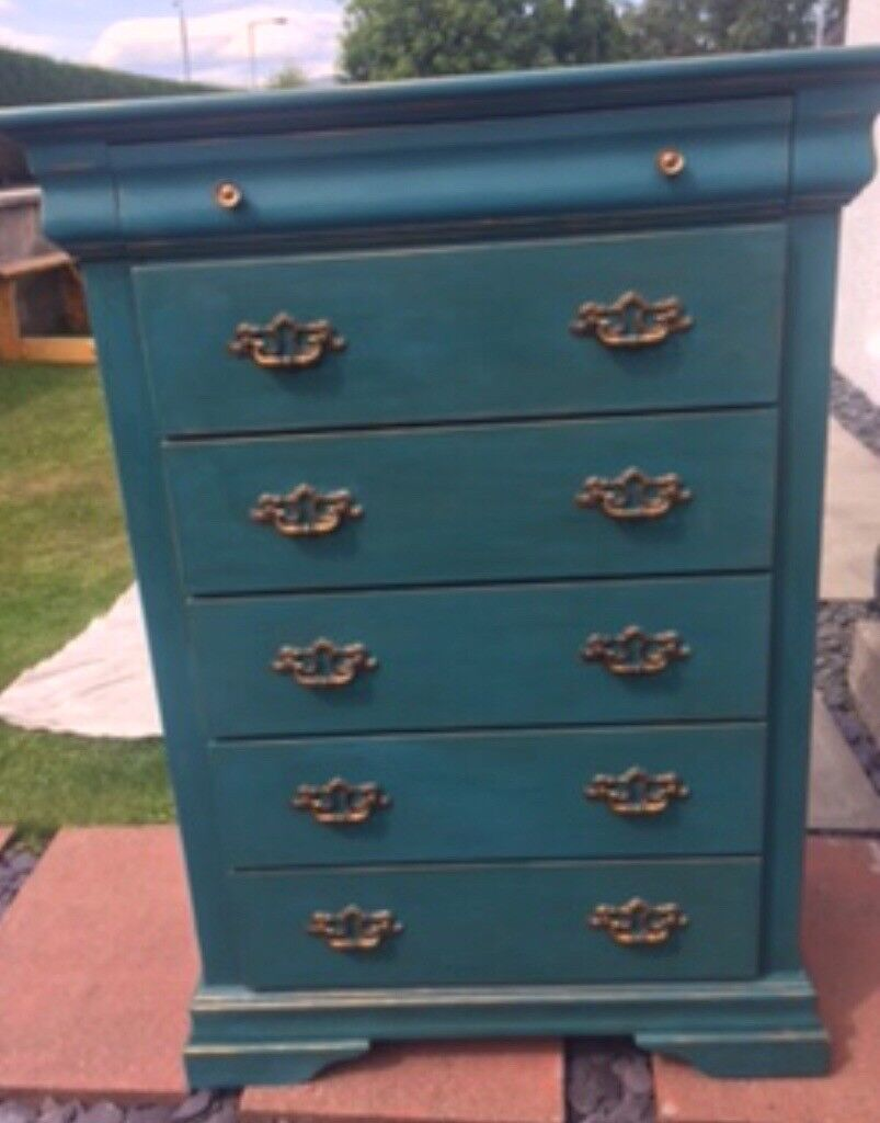 Drawers peacock colour with copper gilding. 5+1 small | in ...