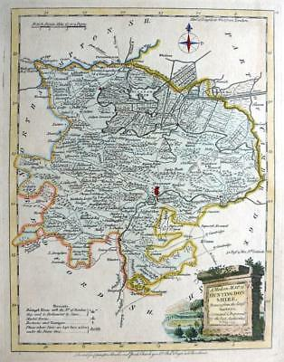 HUNTINGDONSHIRE CAMBRIDGESHIRE  c1765 BY ELLIS / PALMER  GENUINE  ENGRAVED MAP