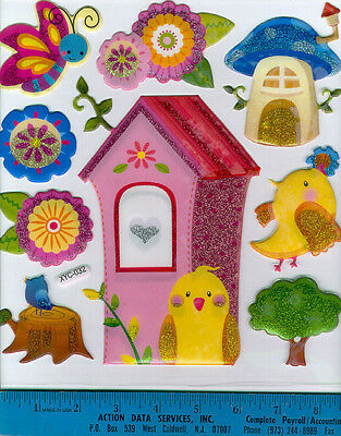 3D PUFFY BIRDHOUSE wall stickers 9 decals glitter accent room decor birds flower