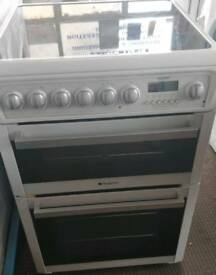 HOTPOINT ELECTRIC COOKER 60CM WIDE CERAMIC PLATE DOUBLE OVEN WITH GRILL FREE DELIVERY AND WARRANTY