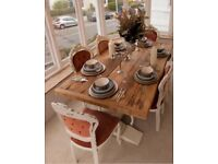 Solid shabby chic table and 6 chairs