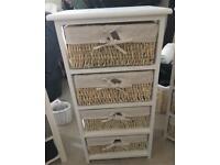 White wicker drawers