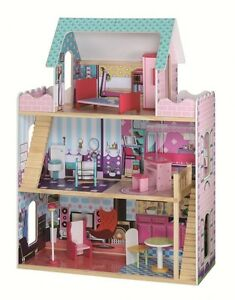 Wooden-Modern-Mansion-Dollhouse-Brand-New-With-Furniture-Great-for-barbie-dolls