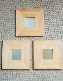 IKEA Malma Small Square Pine Framed Mirror x3