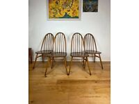 Mid Century Four Ercol Windsor Quaker Beech & Elm Dining Chairs FREE LOCAL DELIVERY