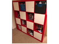 Excellent condition Ikea Kallax Expedit shelving unit Red Colour with 8 white cupboard